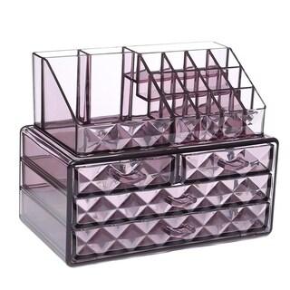 Ikee Design Acrylic Diamond-pattern 2-piece Jewelry and Cosmetic Storage Set