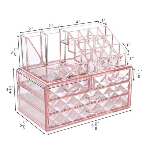 Acrylic Diamond-pattern 2-piece Jewelry and Cosmetic Storage Set
