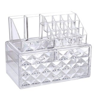Ikee Design Acrylic Diamond-pattern 2-piece Jewelry and Cosmetic Storage Set