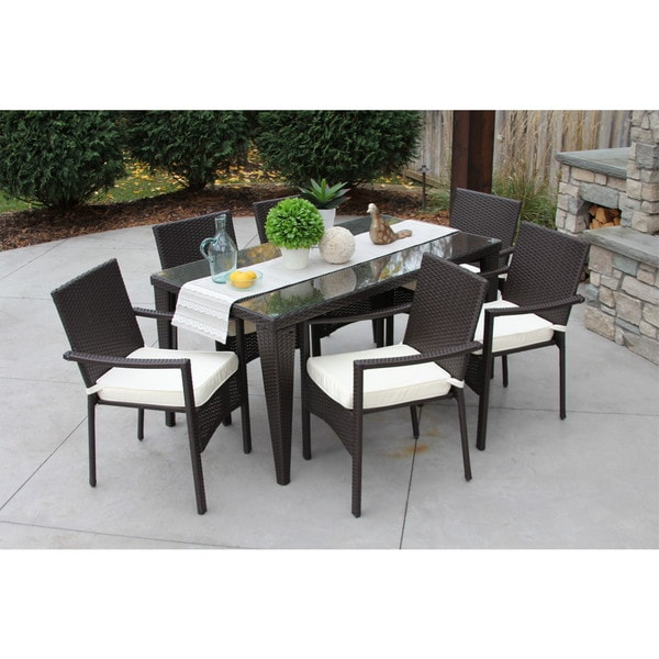 Outdoor Patio Furniture 7pc Multibrown All Weather Wicker: Outdoor All Weather Rattan Wicker Patio