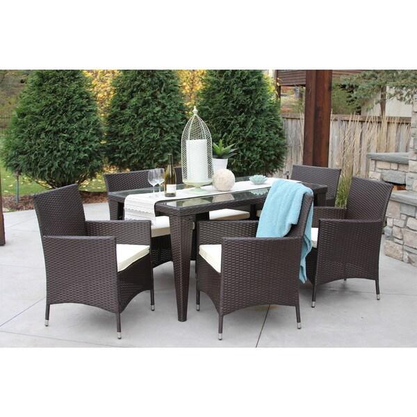 outdoor all weather rattan wicker patio garden brown dining set