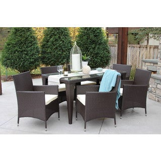 7PC Round Table - Outdoor All Weather Rattan Wicker Patio Garden Brown DIning Set