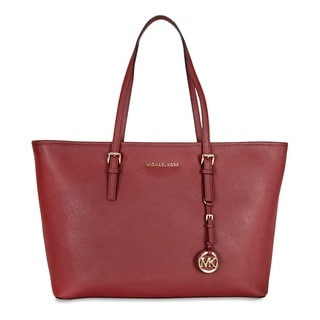 Michael Kors Jet Set Travel Multifunction Saffiano Leather Brick Tote Handbag