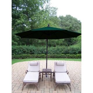 Havenside Home Robbinston Cast Aluminum and Green Umbrella 4-piece Cushioned Lounge Set