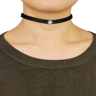 Saachi Cubic Zirconia Star Pendant Leather Choker (China)