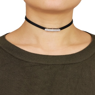 Saachi Cubic Zirconia Bar Pendant Leather Choker (China)
