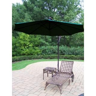 Merit 3-Piece Cast Aluminum Lounge Set with 10 ft Green Umbrella