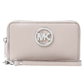 Michael Kors Leather Large Cement Flat Multi-Function Phone Case