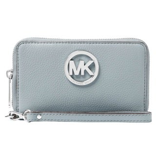 Michael Kors Leather Large Dusty Blue Flat Multi-Function Phone Case