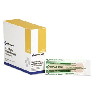 First Aid Only 3 x 3/4 Plastic Adhesive Bandages, 100/Box