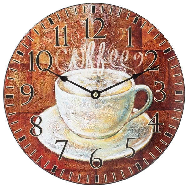 La Crosse 404-2631C 12 inch Round Coffee Decor Analog Wall Clock