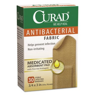 Curad Flex Fabric 3/4 x 3 Antibacterial Bandages, 30/Box