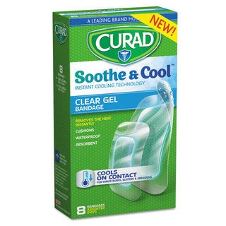 Curad Soothe & Cool Clear Assorted Gel Bandages, 8/Box