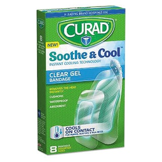 Curad Soothe & Cool Clear 1.8 x 2.96 Gel Bandages, 8/Box