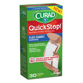 Curad QuickStop Assorted Flex Fabric Bandages, 30/Box