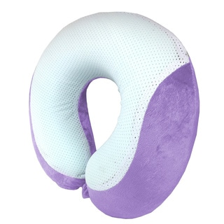 Grey and Purple Cool Gel-infused Memory Foam Neck Pillow