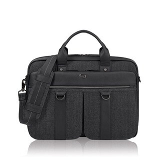 Solo Bradford Black and Grey Vinyl 15.6-inch Laptop Briefcase