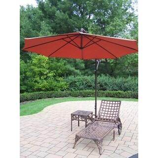 Merit 3-Piece Cast Aluminum Lounge Set with 10 ft Orange Umbrella