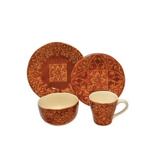 222 Fifth Marrakesh Red Porcelain 16-piece Dinnerware Set
