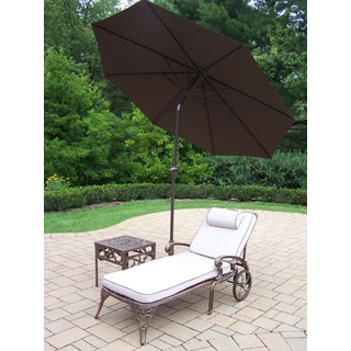 4 Piece Merit Lounge Set with 1 Cushioned & Wheeled Chaise Lounge, Side Table, 9 ft Brown Umbrella and Metal Stand