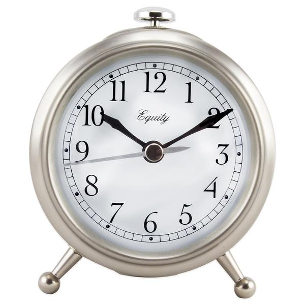 Small Silvertone Metal Alarm Clock