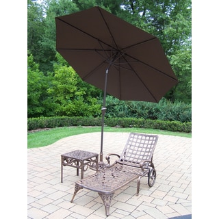 Merit 4-Piece Lounge Set with 9 ft Brown Umbrella