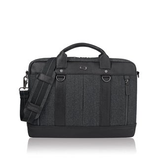 Solo Bradford Black and Grey Vinyl and Fabric 15.6-inch Laptop Slimbrief