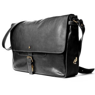 Satch and Fable Italian Leather Rodari Black Messenger Bag