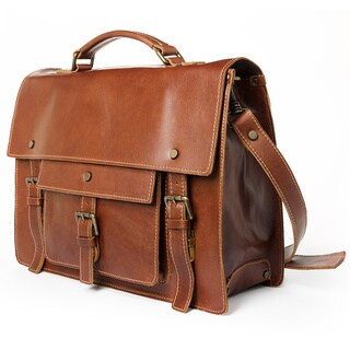 Satch and Fable Moravia Brown Italian Leather Briefcase (15 or 18-inch)