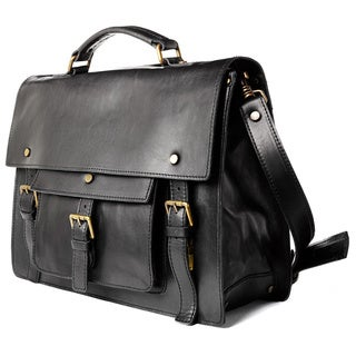 Satch and Fable Morante Black Italian Leather Briefcase (15 or 18-inch)