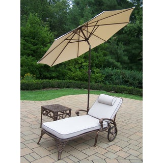 Merit 4-Piece Chaise Lounge Set with 9 ft Beige Umbrella