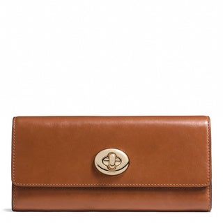 Coach Caramel Leather Turnlock Slim Envelope Wallet