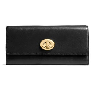 Coach Smooth Black Leather Slim Turnlock Envelope Wallet