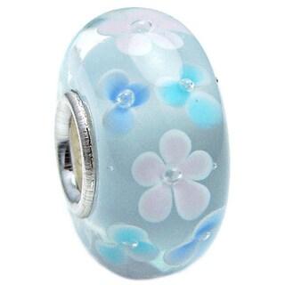 Queenberry Murano Flower Sky Blue Glass Lampwork European Bead Charm