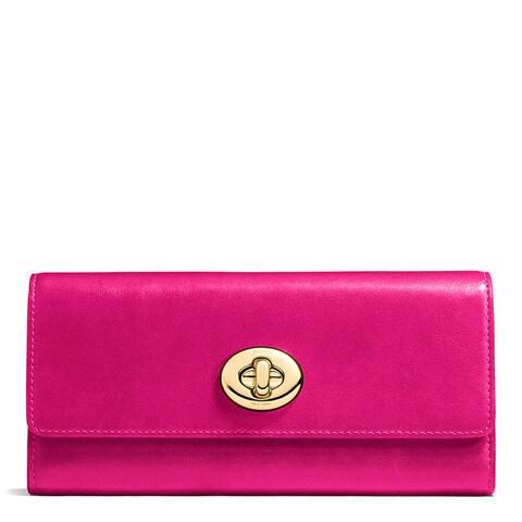 Coach Fuchsia Leather Smooth Turnlock Slim Envelope Wallet