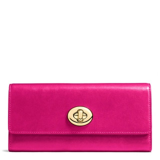 Coach Fuchsia Leather Smooth Turnlock Slim Envelope Wallet
