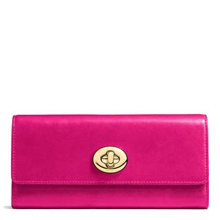 Coach Fuchsia Leather Smooth Turnlock Slim Envelope Wallet|https://ak1.ostkcdn.com/images/products/13477143/P20163515.jpg?impolicy=medium
