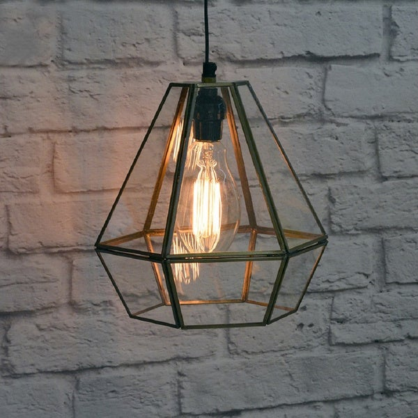 Handmade Glass Terrarium Hanging Lamp (India)