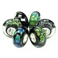 Queenberry 6pcs Sterling Silver Mystery Black Foiled Murano Bundle Glass Bead European Bead Charm