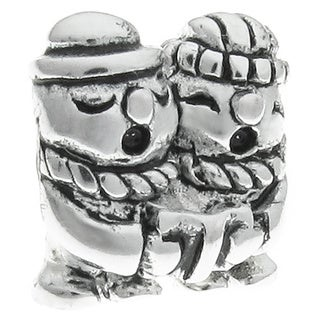 Queenberry Sterling Silver Christmas Snowman Singing Caroling Couple European Bead Charm