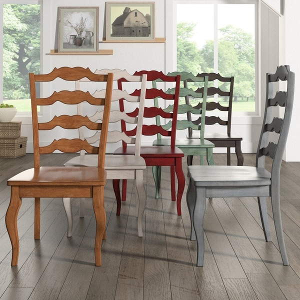 Cowhide Barstools Vintage Black White Hairhide Leather Bar: Shop Eleanor French Ladder Back Wood Dining Chair (Set Of