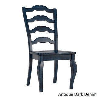 Eleanor French Ladder Back Wood Dining Chair (Set of 2) by iNSPIRE Q Classic (Option: Antique Dark Denim)
