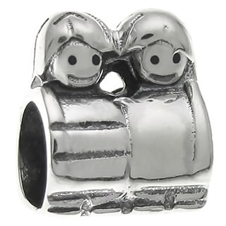 Queenberry Sterling Silver Cute Boy Girl Mom's Son Daughter Kid European Bead Charm