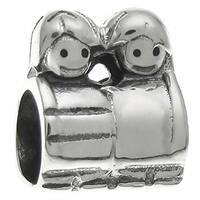 Queenberry Sterling Silver Mom's Son Daughter Kid European Bead Charm