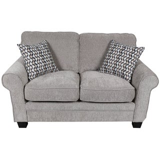 Porter Noelle Light Gray Chenille Loveseat with 2 Woven Zig Zag Accent Pillows