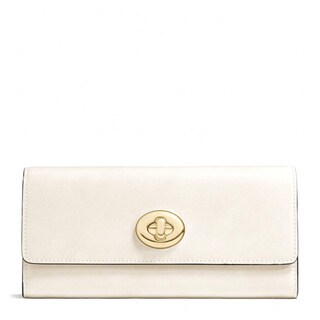 Coach Smooth Chalk Leather Turnlock Slim Envelope Wallet