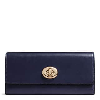 Coach Smooth Navy Leather Turnlock Slim Envelope Wallet|https://ak1.ostkcdn.com/images/products/13477174/P20163518.jpg?impolicy=medium