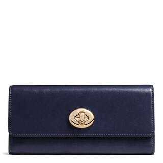 Coach Smooth Navy Leather Turnlock Slim Envelope Wallet