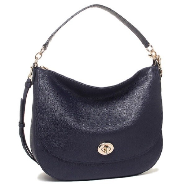 ba2b470cf6 Shop Coach Women s Turnlock Navy Leather Hobo Handbag - Free ...
