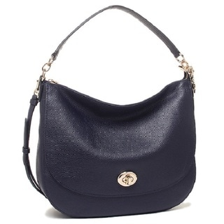 Coach Women's Turnlock Navy Leather Hobo Handbag